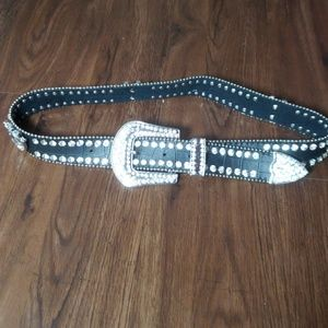 Accessories - Leather  rhinestone belt